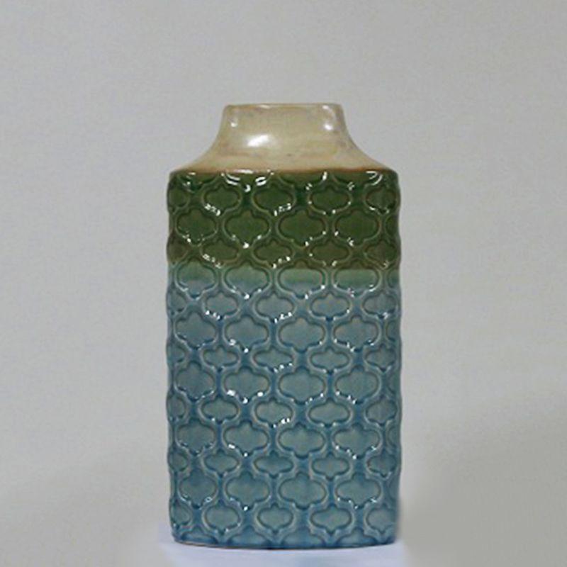 Vaso Decorativo Grande em Cerâmica alto relevo Azul e Verde