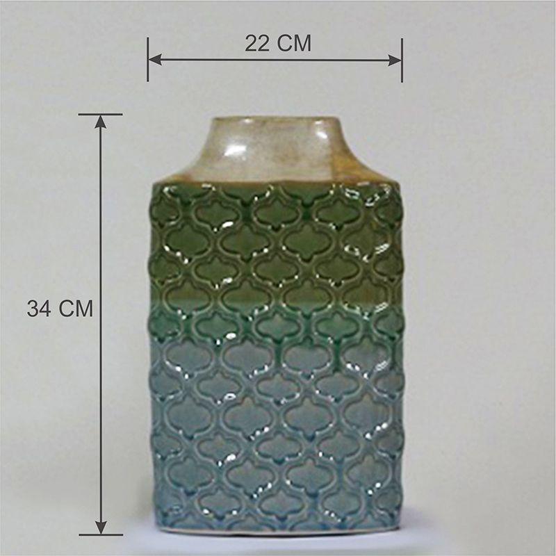 Vaso Decorativo Médio em Cerâmica alto relevo Azul e Verde