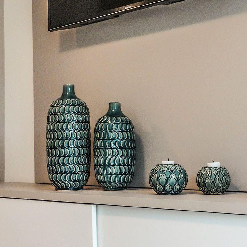 Vaso Decorativo Médio em Cerâmica com tons de verde