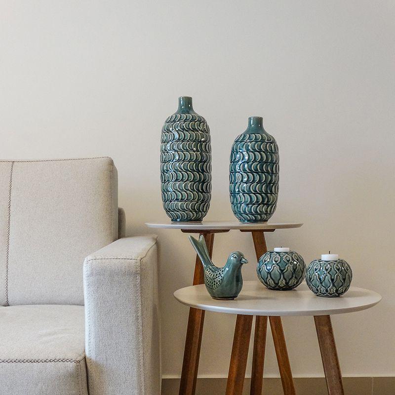 Vaso Decorativo Pequeno em Cerâmica com tons de verde