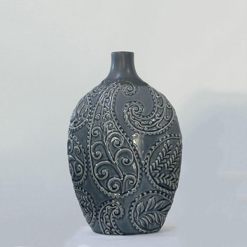 Vaso Decorativo Folhagem Grande em Cerâmica Azul