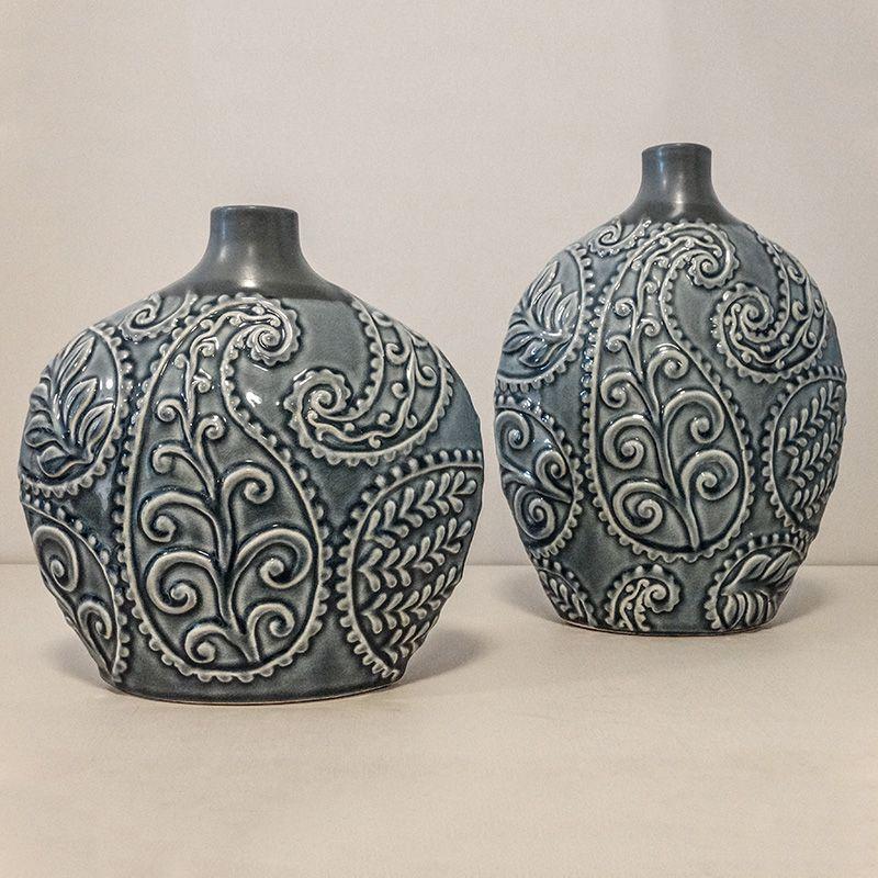 Vaso Decorativo Folhagem Pequeno em Cerâmica Azul