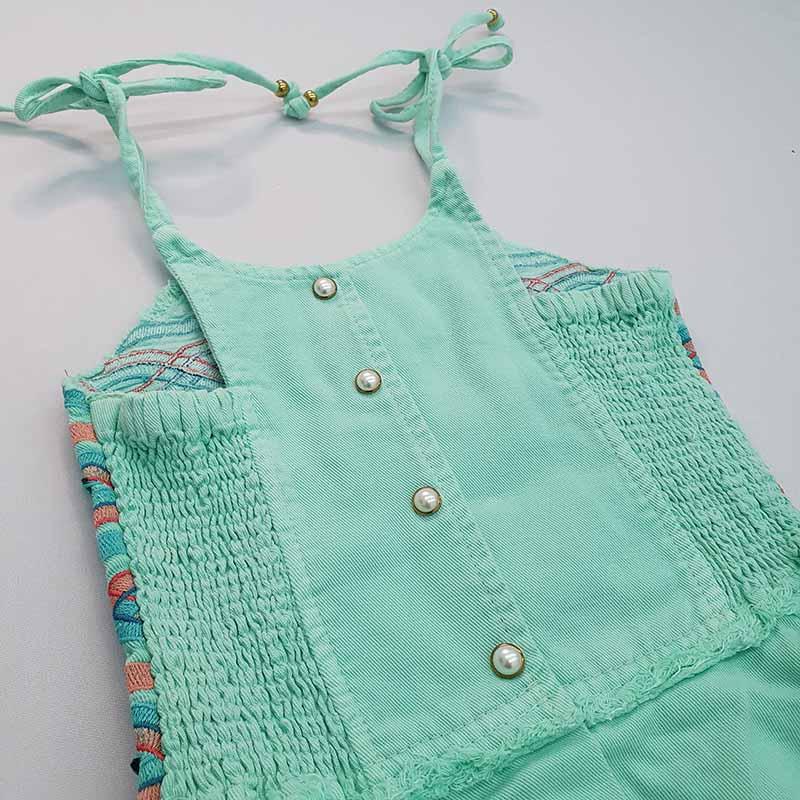 Vestido Infantil Jeans Verde com Bordado Kukixo