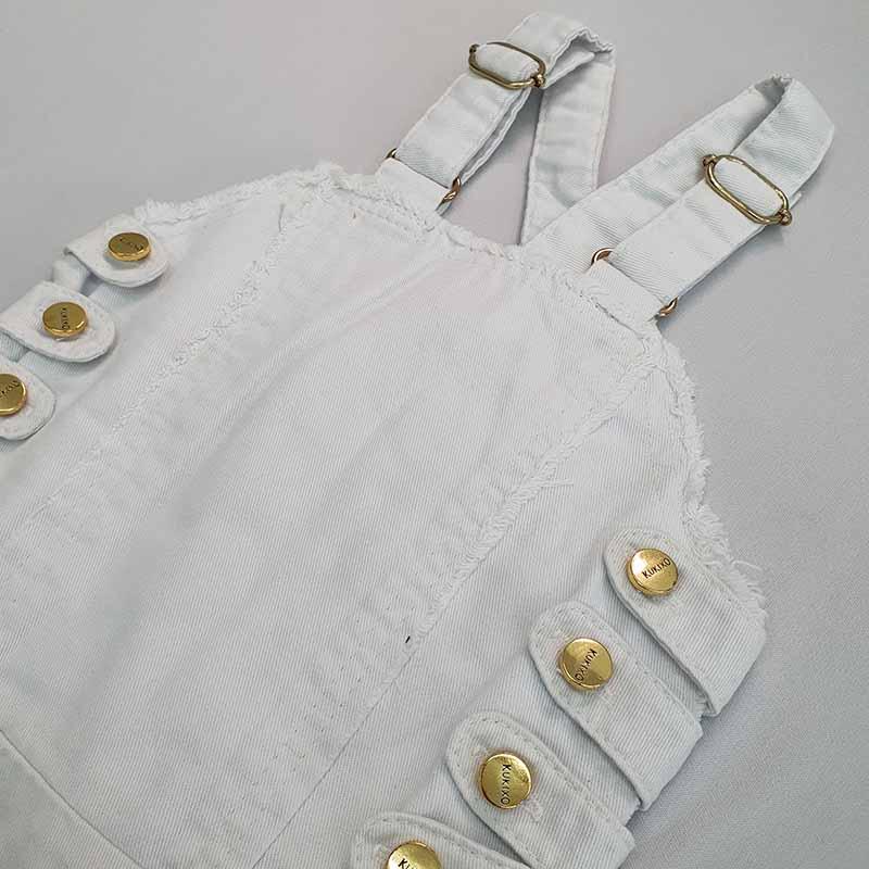 Vestido Infantil Jeans Branco Kukixo