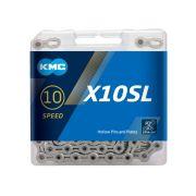 CORRENTE KMC X-10SL PRATEADO 10V. VAZADO 1/2x11/128 116L