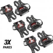 Kit 3 Pares de Pedais para Bicicleta Ergométrica Fitness / Spinning Engate Sapatilha e FirmaPé Wellgo WPD-E003