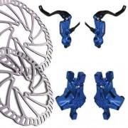 Kit / Conjunto de freio a disco hidráulico Bengal Helix 5 LS 203mm DH / FR - cor azul
