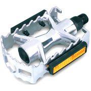 Pedal MTB Alumínio Cromado com Refletor