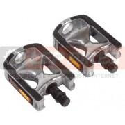 Pedal MTB Alumínio Emborrachado com Refletor - rosca fina 1/2