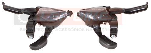 Conjunto de Trocador com Alavanca de Freio EF51 EZFire Esquerdo e Direito 3x8 velocidades Shimano