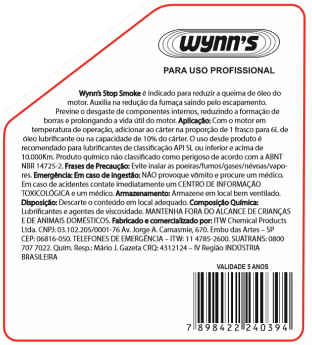 Aditivo Anti Fumaça Wynns Stop Smoke - 325ml