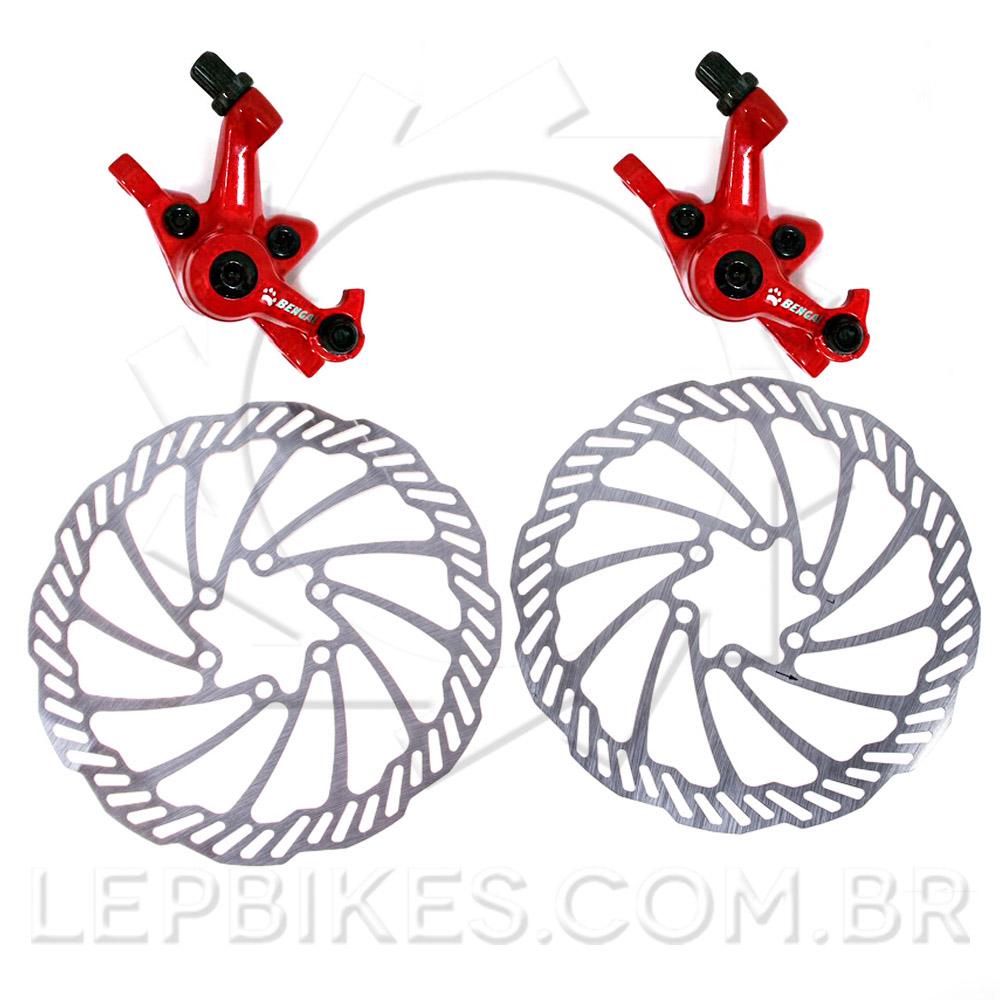 Conjunto De Freio A Disco Para Bike Bengal Mb-849 160mm Vermelho