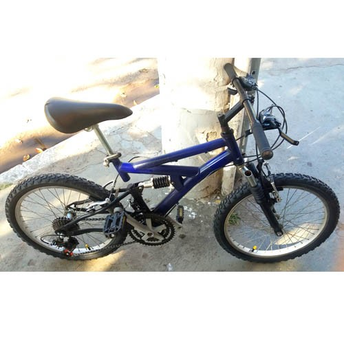 Bicicleta aro 20 - quadro azul full-suspension - 21v Shimano