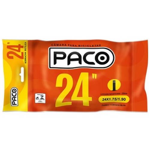 Câmara aro 24 x 1.75 / 1.90 / válvula comum (Schrader / Americana) 35mm / marca Paco