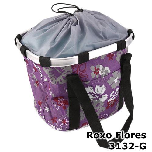 Cesta com suporte e engate rápido - cor Roxo Flores 3132-G