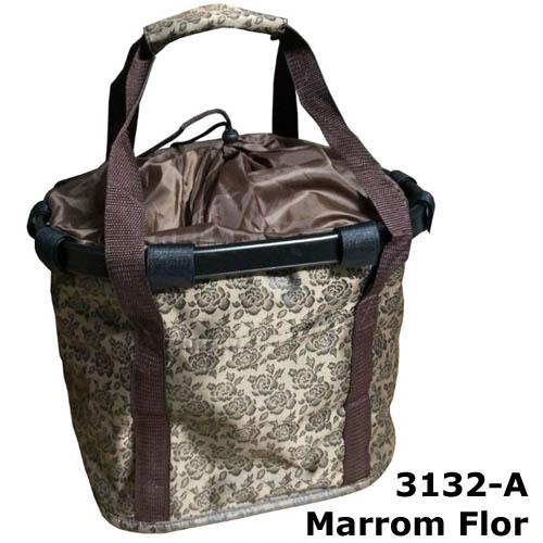 Cesta com suporte e engate rápido - cor Marrom Flor 3132-D