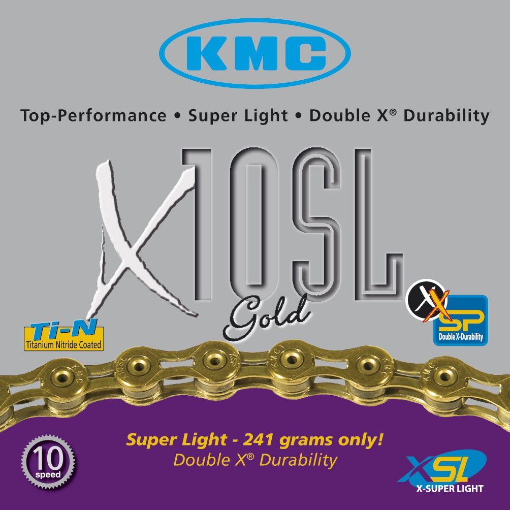 Corrente 10v KMC X-10SL DOURADO VAZADO MTB/SPEED 116L