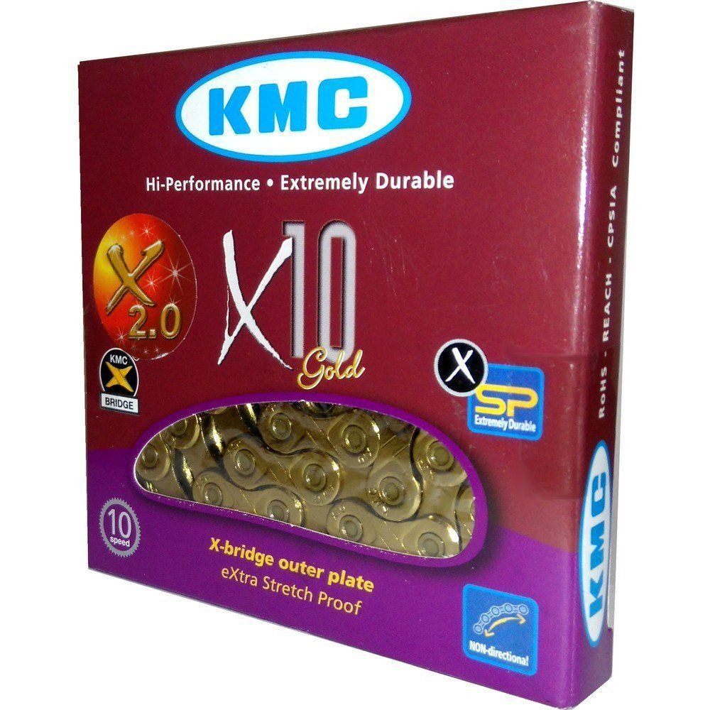 Corrente KMC X10 Ti-N Dourada Gold 10v 116L