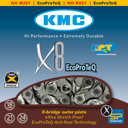 Corrente MTB / SPEED - KMC X8 - 8v - EPT - Anti Ferrugem