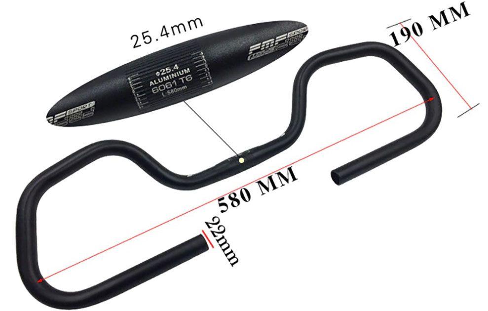 Guidão Borboleta Cicloturismo 25.4mm Preto
