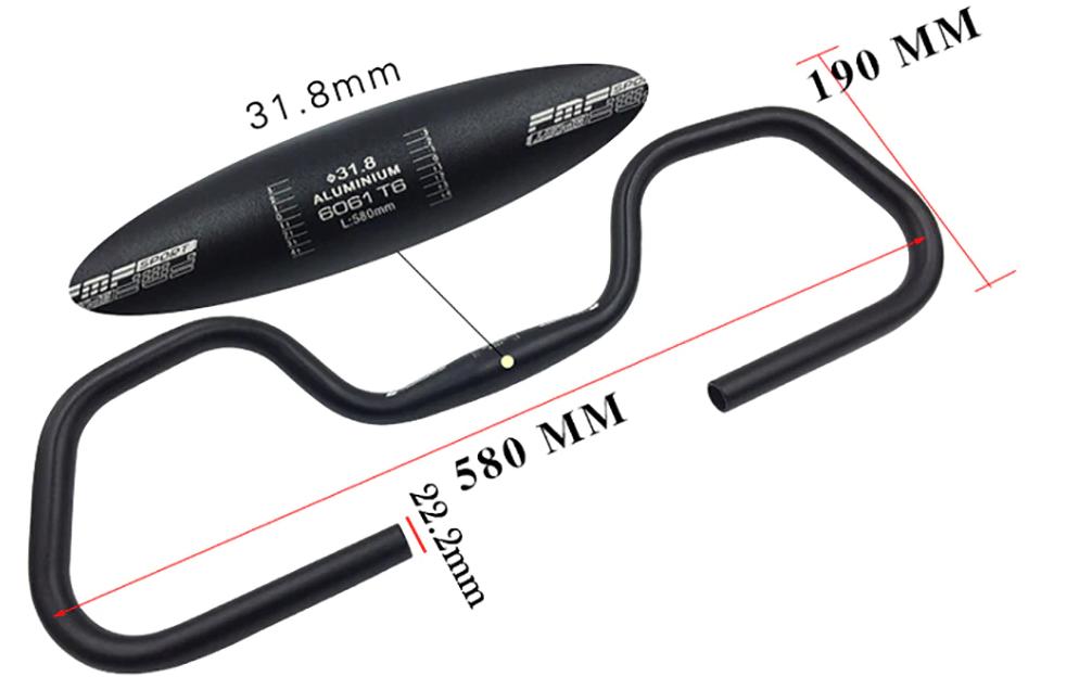 Guidão Borboleta Cicloturismo 31.8mm Preto