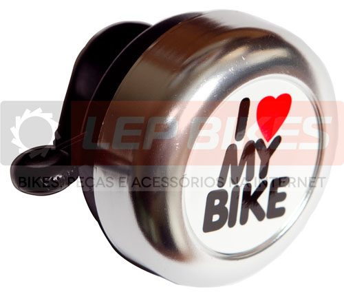 Campainha I love my bike Prata