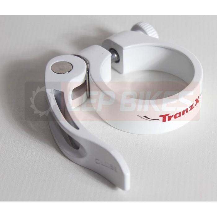 Abraçadeira de Canote 34,9mm C/ Blocagem Branca Tranz X