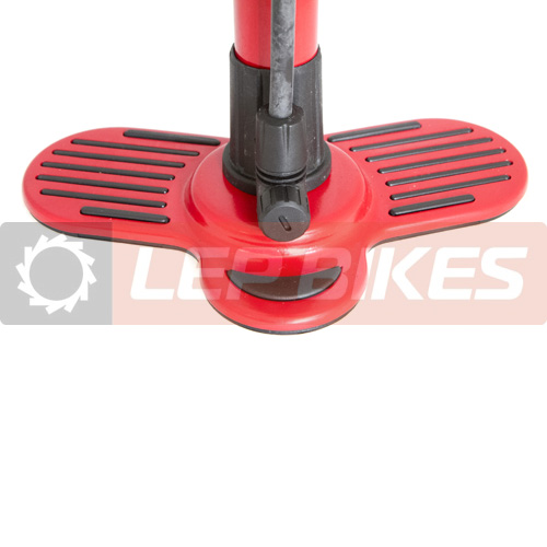 Bomba de chão / Pé  Vermelha com Manômetro com Bico Duplo