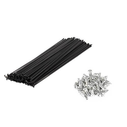 Jogo de raios de aço carbono preto 255mm x 2mm / 36 raios / acompanha niples