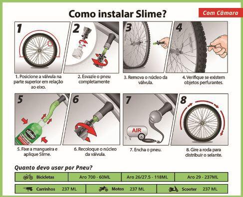 Kit 2 Selantes Pneu Câmara Slime 473ml - Bike/ Moto/ Scooter
