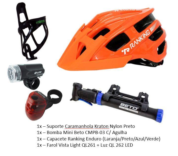 Kit Acessórios Bike - Capacete + Suporte de Caramanhola + Bomba + Luzes