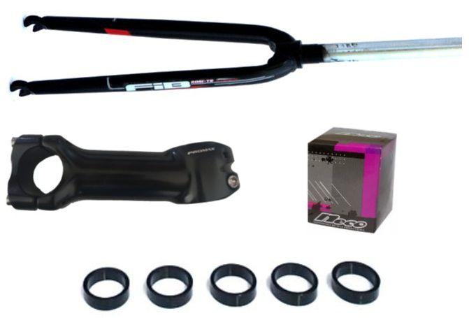 Kit Speed 700 Aheadset Oversize - Garfo Rígido + Mesa + Caixa de Direção + Espaçadores - Preto
