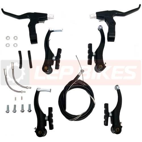 Kit completo de freio alumínio V-brake (dianteiro + traseiro) - marca Calypso - Preto