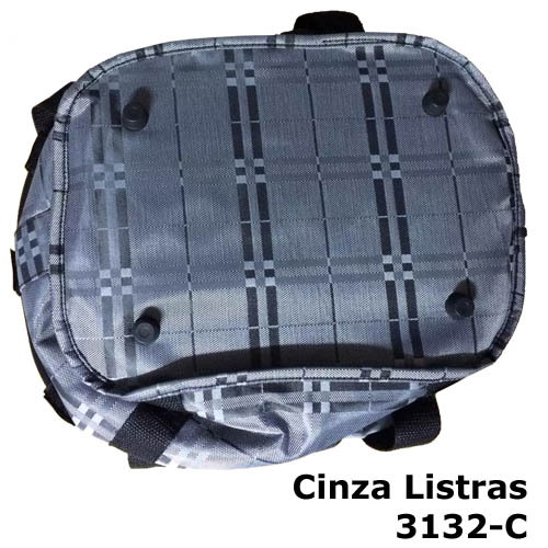 Cesta com suporte e engate rápido - cor Cinza Listras 3132-C