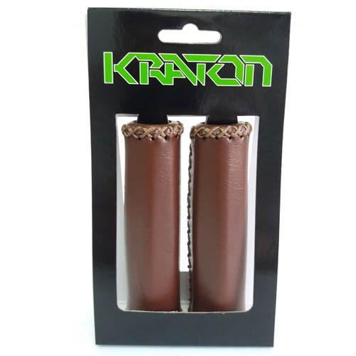 Manopla para bicicleta Kraton WI-1112C couro sintético marrom - 125mm