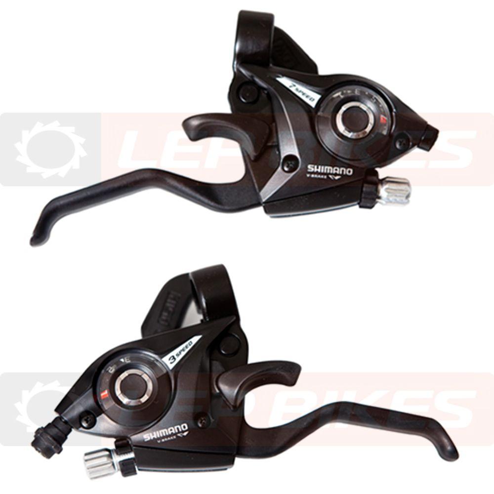 Conjunto de Trocador com Alavanca de Freio EF51 EZFire Esquerdo e Direito 3x7 velocidades Shimano