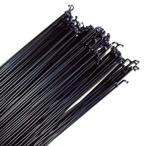 Raio de aço preto para bike 190mm x 2mm - Jogo com 36 raios