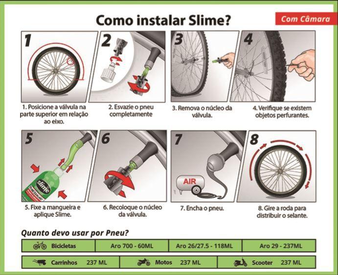 Selante para Pneu com Câmara Slime 237mL - bicicleta / motocicleta / scooter