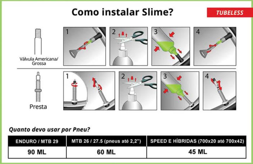 Selante Slime Tubeless P/ Pneus Sem Câmara 237ml