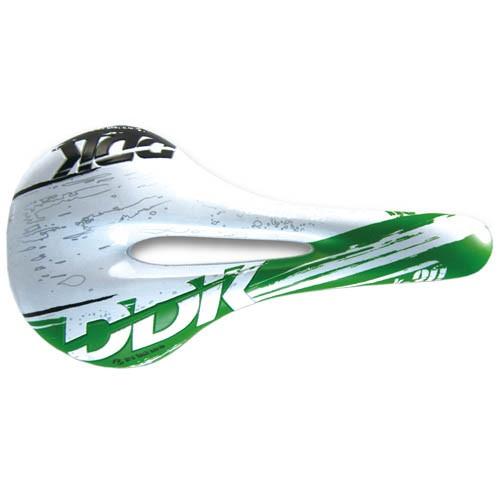 Selim DDK 373 K30 Vazado - Speed / MTB - Verde e Branco - 322g