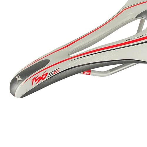 Selim Rasso R 156 Speed / MTB - Branco / Vermelho - 260g
