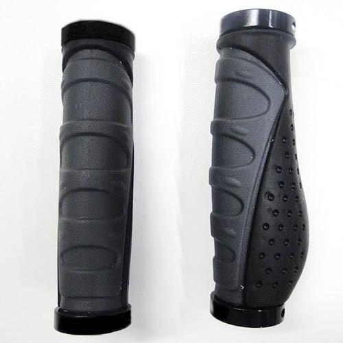 Manopla ergonômica X-plore Ergo Plus GP-1414 130mm com travas - borracha e alumínio - preto/cinza