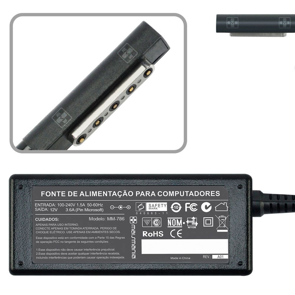 Fonte Carregador P/ Microsoft Surface Rt Tablet 12v 3.6a MM 786 - EASY HELP NOTE