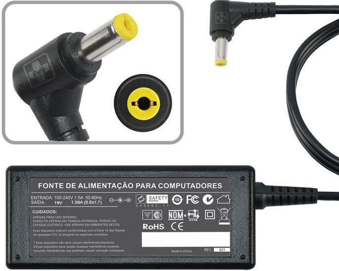 Fonte Carregador Para Acer Aspire 8gb 8.9  Laptop 19v 1.58a MM 480 - EASY HELP NOTE