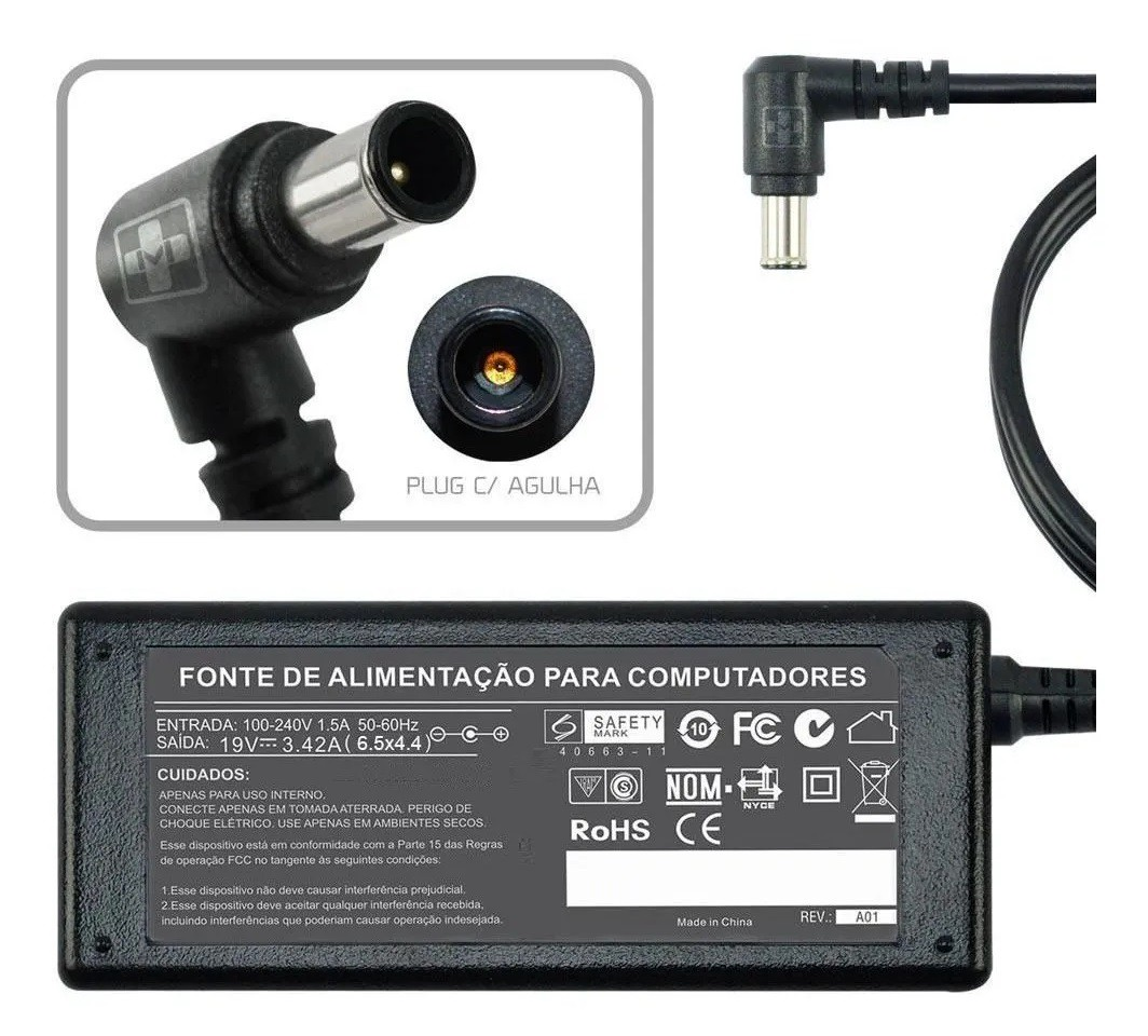 Fonte Carregador Para Monitor Tv Lg M2380a 19v 3,42a 644 - EASY HELP NOTE