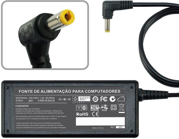 Fonte Carregador Para Positivo Mobile V147 20v 3,25a 65w 482 - EASY HELP NOTE