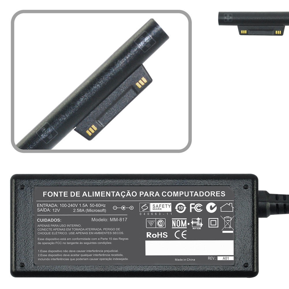 Fonte P/ Tablet Microsoft Surface 3 Rt Pro Tablet 12v 2.58a 817 - EASY HELP NOTE