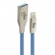 CABO USB X LIGHTNING FLAT METALICO ELG L810PB AZUL 1M