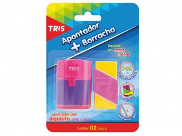 APONTADOR C/ DEPÓSITO + BORRACHA TRIS BLISTER  - TELLNET