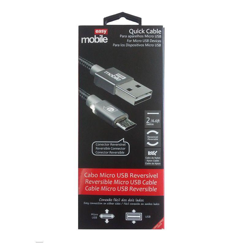 CABO MICRO USB QUICK EASY MOBILE 2M GRAFITE  - TELLNET